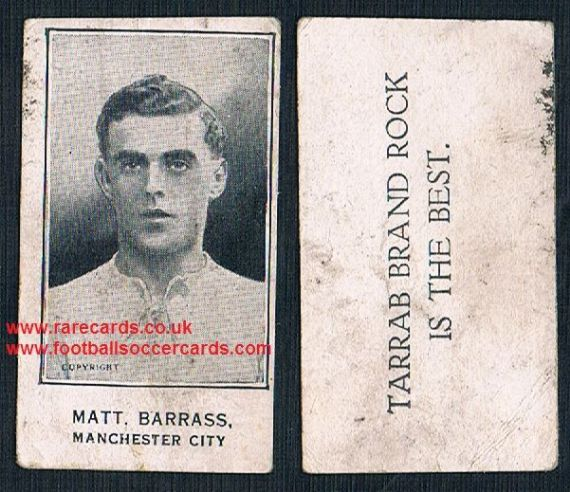 1926 Matt Barrass Blackpool Manchester City Barratt's Tarrab Brand Rock card